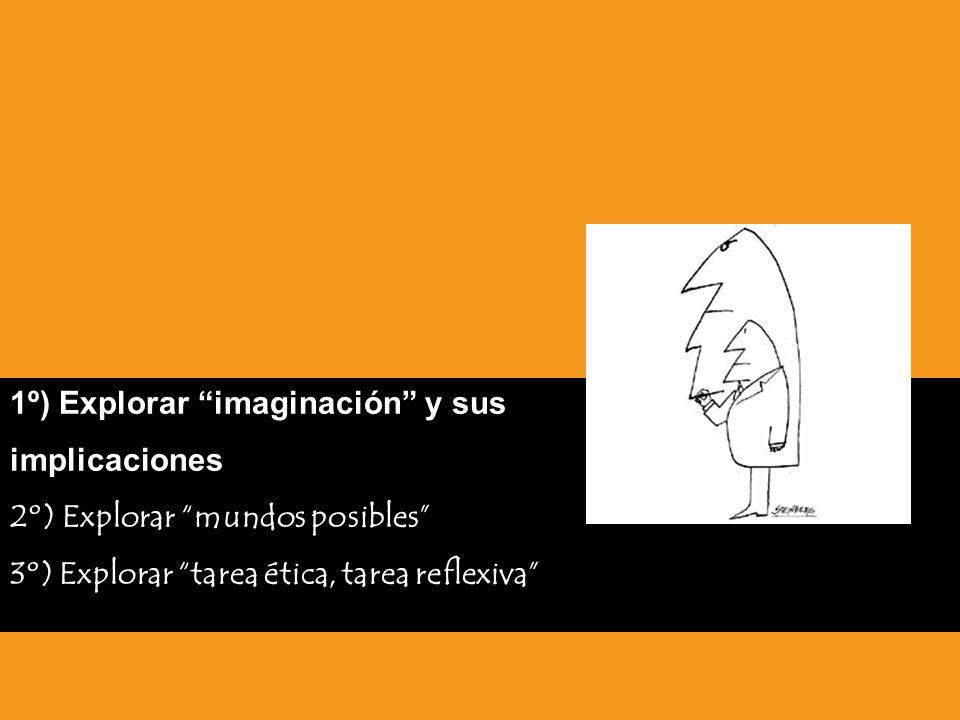 1º) Explorar imaginación y sus implicaciones 2º) Explorar mundos posibles 3º) Explorar tarea ética, tarea reflexiva