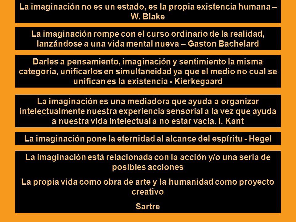 La imaginación rompe con el curso ordinario de la realidad, lanzándose a una vida mental nueva – Gaston Bachelard La imaginación no es un estado, es l