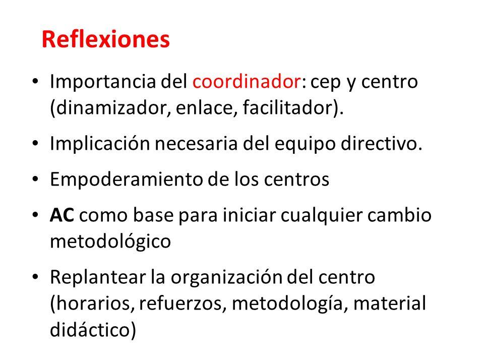 Reflexiones Importancia del coordinador: cep y centro (dinamizador, enlace, facilitador).