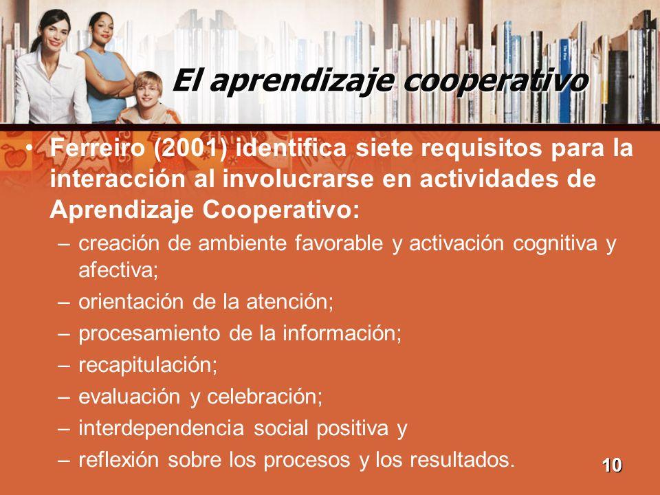 El aprendizaje cooperativo Ferreiro (2001) identifica siete requisitos para la interacción al involucrarse en actividades de Aprendizaje Cooperativo: