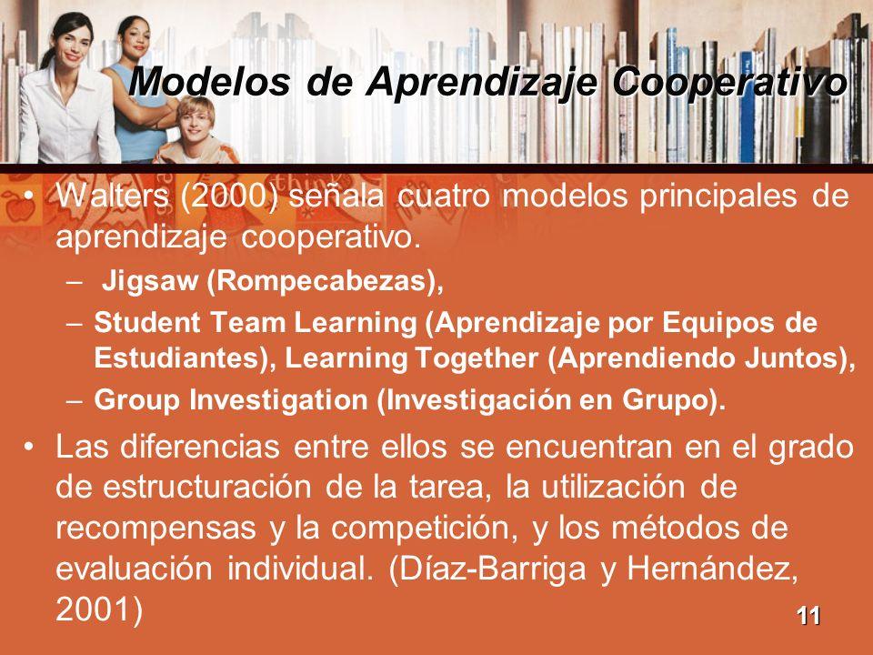 Modelos de Aprendizaje Cooperativo Walters (2000) señala cuatro modelos principales de aprendizaje cooperativo. – Jigsaw (Rompecabezas), –Student Team
