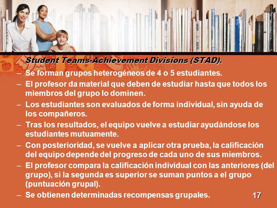 Student Teams-Achievement Divisions (STAD). –Se forman grupos heterogéneos de 4 o 5 estudiantes. –El profesor da material que deben de estudiar hasta