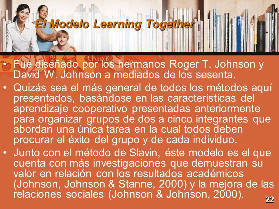 El Modelo Learning Together Fue diseñado por los hermanos Roger T. Johnson y David W. Johnson a mediados de los sesenta. Quizás sea el más general de
