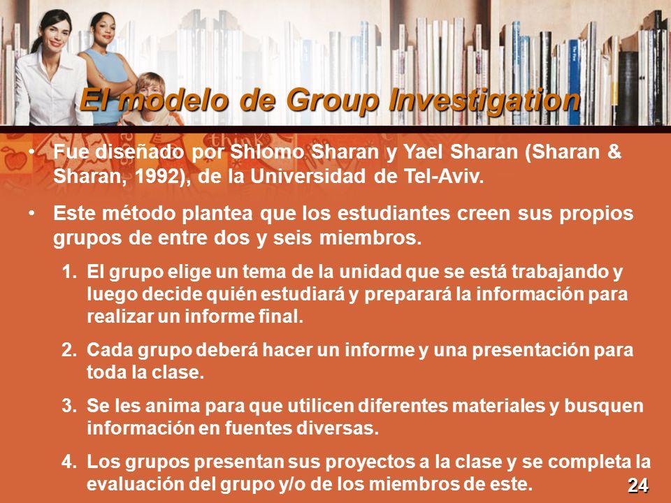 El modelo de Group Investigation Fue diseñado por Shlomo Sharan y Yael Sharan (Sharan & Sharan, 1992), de la Universidad de Tel-Aviv. Este método plan