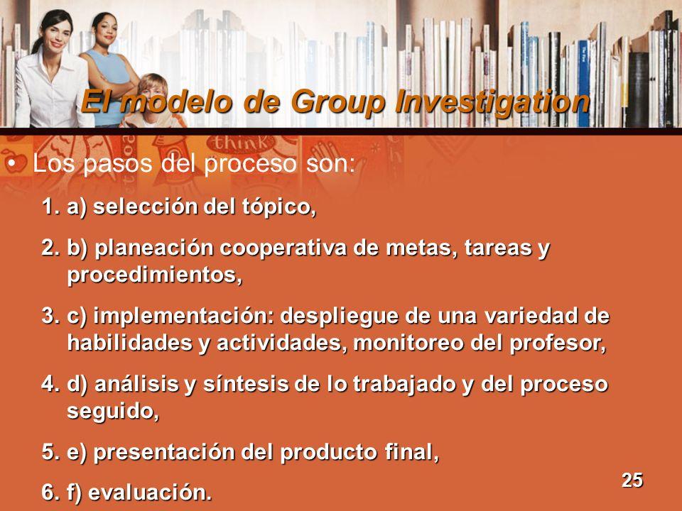 El modelo de Group Investigation Los pasos del proceso son: 1.a) selección del tópico, 2.b) planeación cooperativa de metas, tareas y procedimientos,
