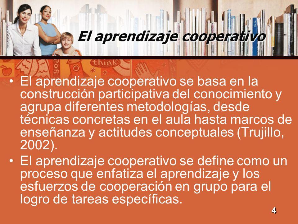 El aprendizaje cooperativo Dentro del proceso del aprendizaje cooperativo se destaca la participación activa y la interacción tanto de estudiantes como profesores, (Ovejero, Moral y Pastor, 2000).