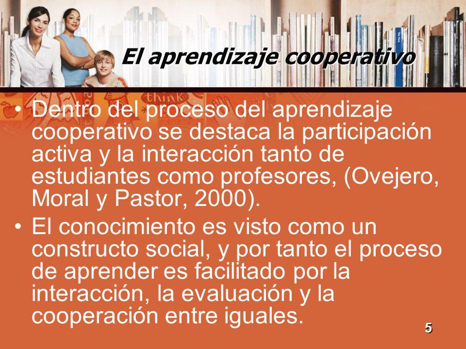 El aprendizaje cooperativo Dentro del proceso del aprendizaje cooperativo se destaca la participación activa y la interacción tanto de estudiantes com