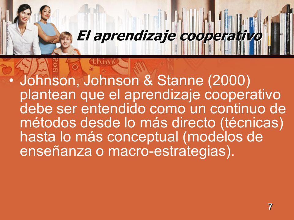 El aprendizaje cooperativo El aprendizaje cooperativo se caracteriza por el tamaño y la composición del grupo, sus objetivos y roles, su funcionamiento, sus normas, y las destrezas sociales que lo crean, lo mantienen y lo mejoran.