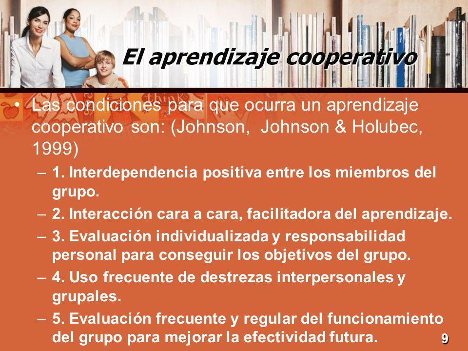 El aprendizaje cooperativo Las condiciones para que ocurra un aprendizaje cooperativo son: (Johnson, Johnson & Holubec, 1999) –1. Interdependencia pos