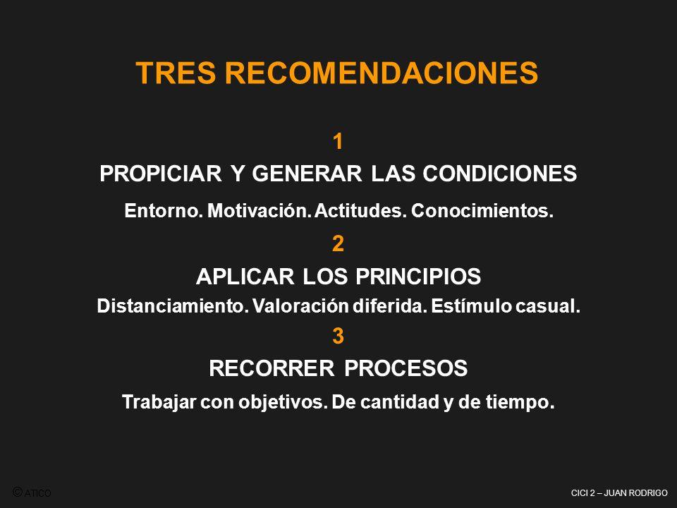 CICI 2 – JUAN RODRIGO 1 PROPICIAR Y GENERAR LAS CONDICIONES Entorno. Motivación. Actitudes. Conocimientos. 2 APLICAR LOS PRINCIPIOS Distanciamiento. V