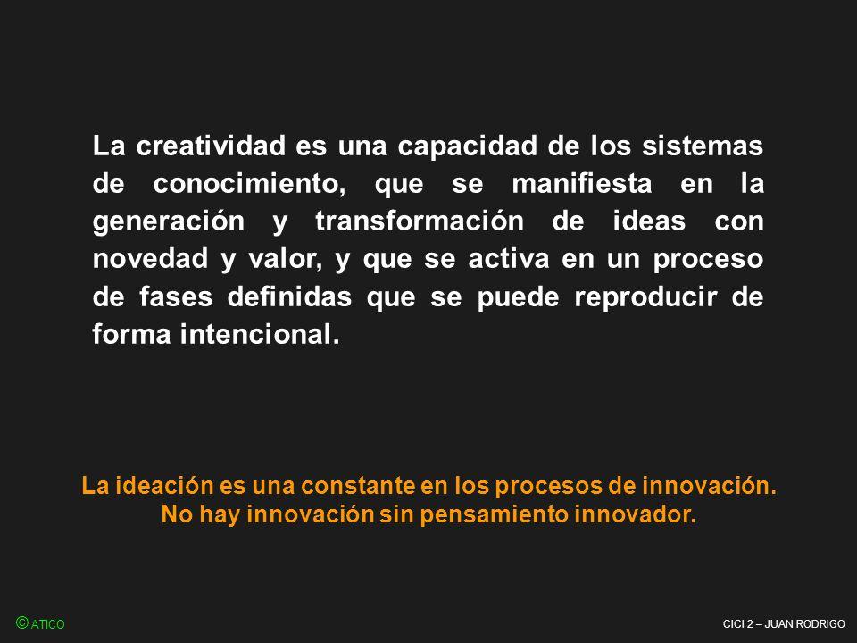 CICI 2 – JUAN RODRIGO La creatividad es una capacidad de los sistemas de conocimiento, que se manifiesta en la generación y transformación de ideas co