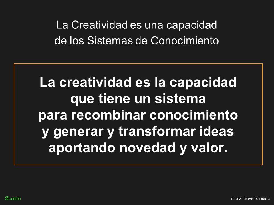 CICI 2 – JUAN RODRIGO La creatividad es la capacidad que tiene un sistema para recombinar conocimiento y generar y transformar ideas aportando novedad