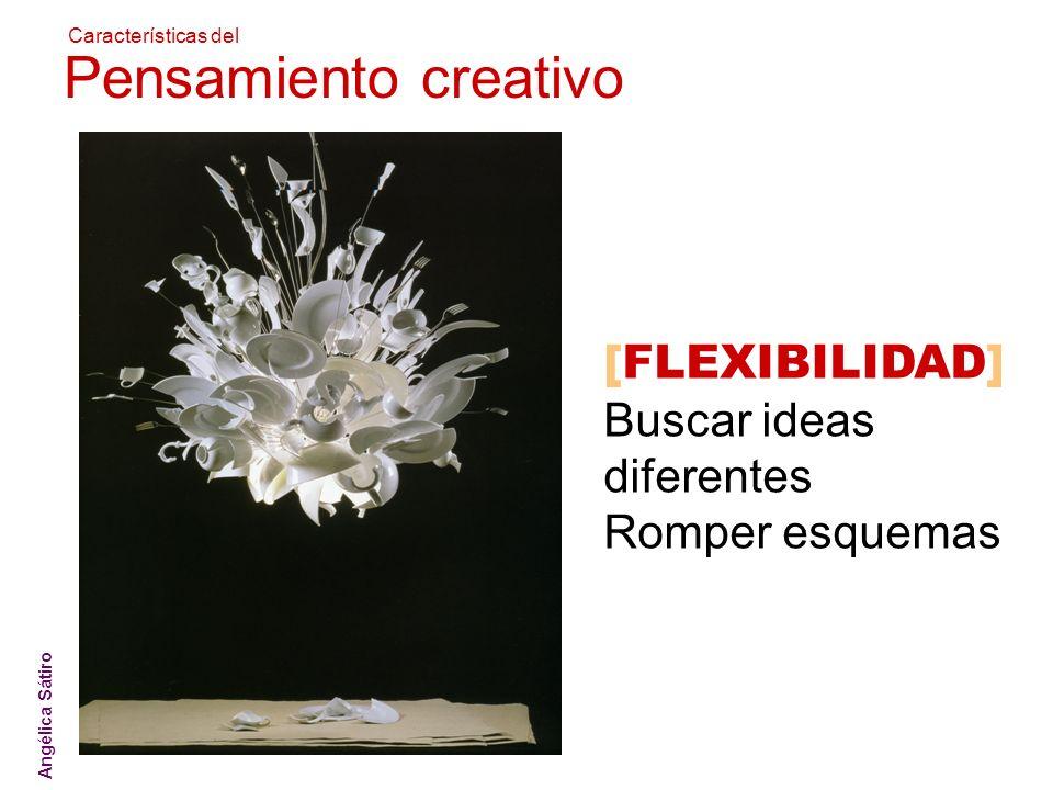 ATICO ]sistemas creativos[ [FLEXIBILIDAD] Buscar ideas diferentes Romper esquemas Angélica Sátiro Características del Pensamiento creativo
