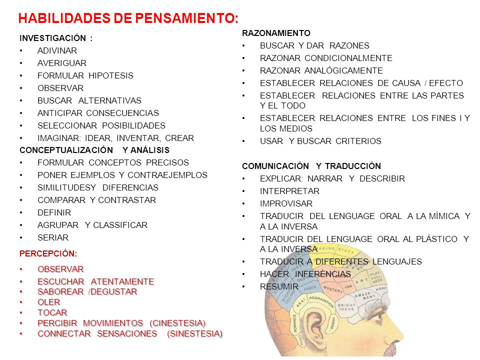 HABILIDADES DE PENSAMIENTO: INVESTIGACIÓN : ADIVINAR AVERIGUAR FORMULAR HIPOTESIS OBSERVAR BUSCAR ALTERNATIVAS ANTICIPAR CONSECUENCIAS SELECCIONAR POS