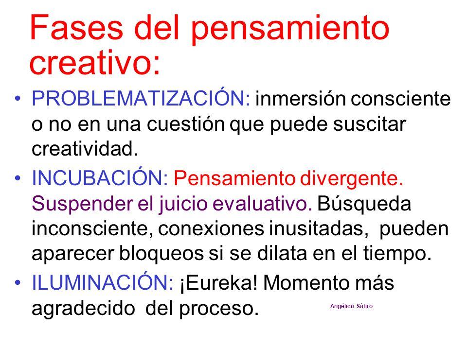 Fases del pensamiento creativo: PROBLEMATIZACIÓN: inmersión consciente o no en una cuestión que puede suscitar creatividad. INCUBACIÓN: Pensamiento di