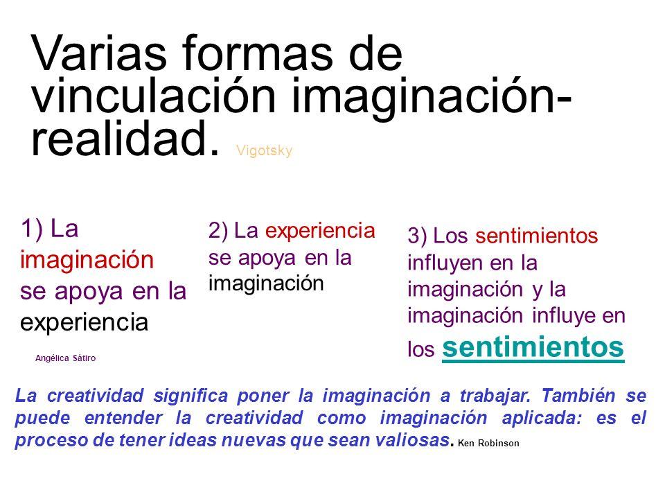 1) La imaginación se apoya en la experiencia 2) La experiencia se apoya en la imaginación 3) Los sentimientos influyen en la imaginación y la imaginac