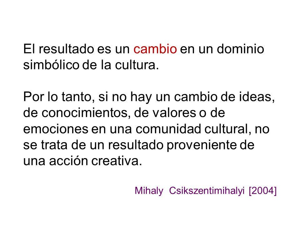 El resultado es un cambio en un dominio simbólico de la cultura. Por lo tanto, si no hay un cambio de ideas, de conocimientos, de valores o de emocion