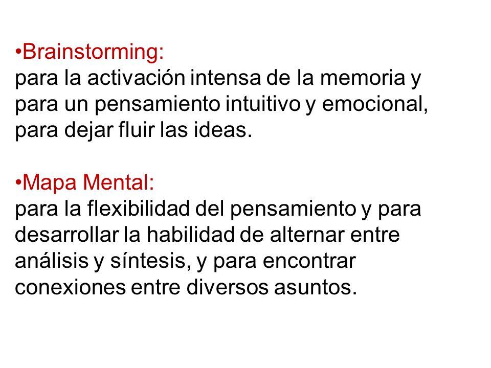 Brainstorming: para la activación intensa de la memoria y para un pensamiento intuitivo y emocional, para dejar fluir las ideas. Mapa Mental: para la