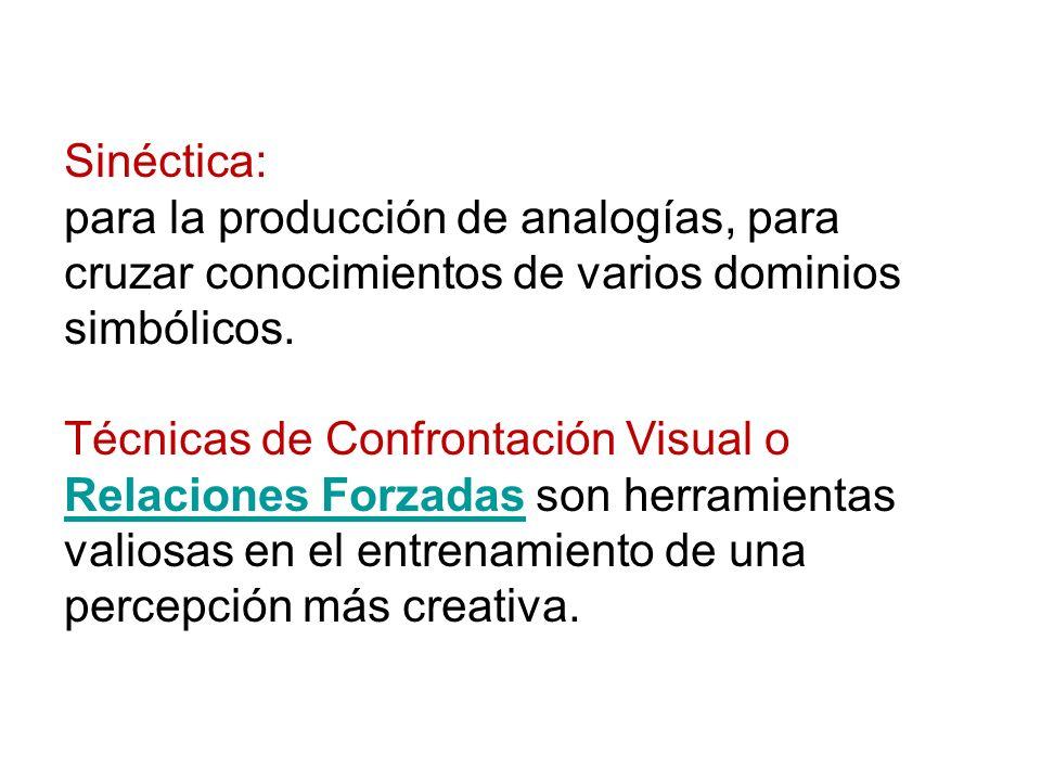 Sinéctica: para la producción de analogías, para cruzar conocimientos de varios dominios simbólicos. Técnicas de Confrontación Visual o Relaciones For
