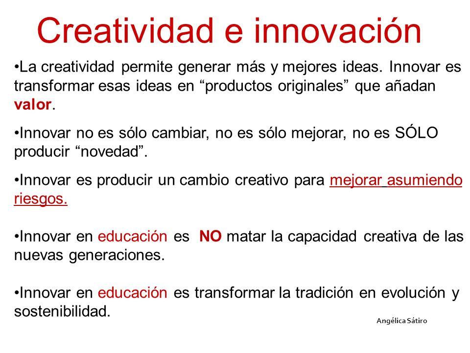Angélica Sátiro La creatividad permite generar más y mejores ideas. Innovar es transformar esas ideas en productos originales que añadan valor. Innova