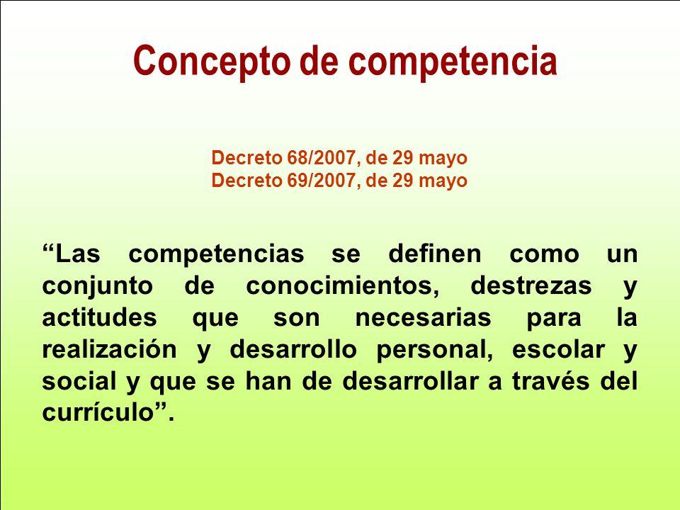 Concepto de competencia Decreto 68/2007, de 29 mayo Decreto 69/2007, de 29 mayo Las competencias se definen como un conjunto de conocimientos, destrez