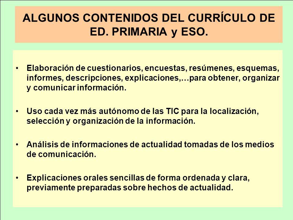 ALGUNOS CONTENIDOS DEL CURRÍCULO DE ED. PRIMARIA y ESO. Elaboración de cuestionarios, encuestas, resúmenes, esquemas, informes, descripciones, explica