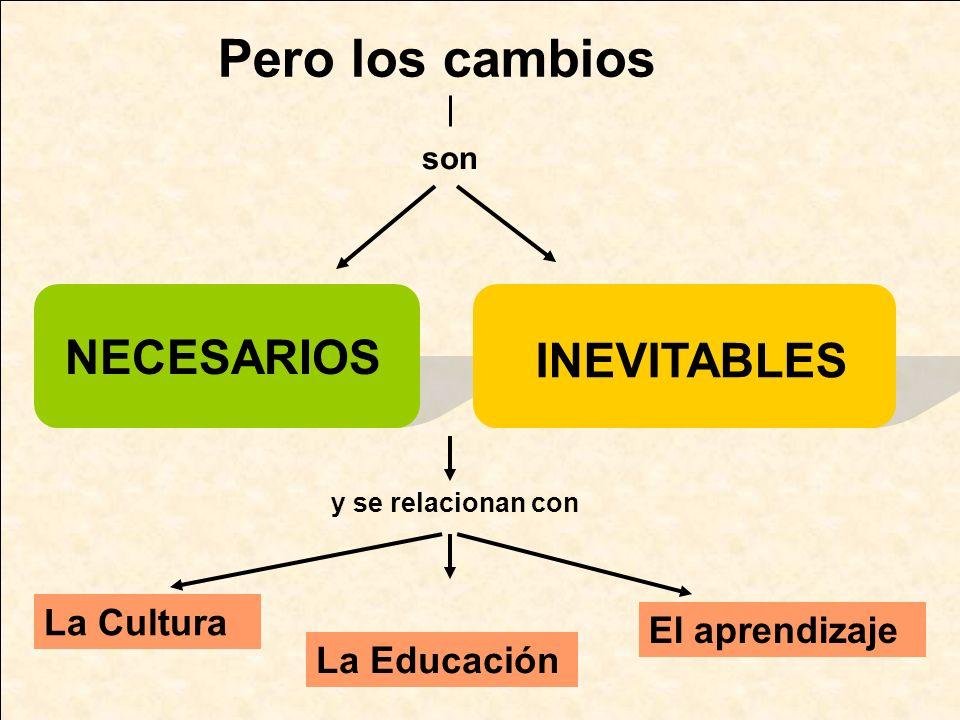 Pero los cambios son NECESARIOS INEVITABLES y se relacionan con La Cultura La Educación El aprendizaje