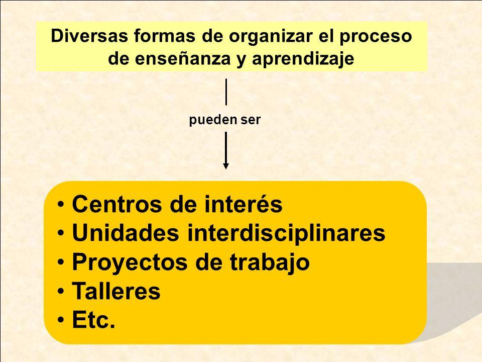 Centros de interés Unidades interdisciplinares Proyectos de trabajo Talleres Etc. Diversas formas de organizar el proceso de enseñanza y aprendizaje p