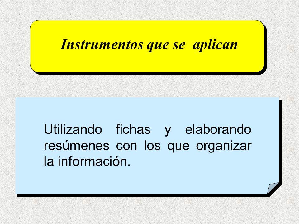 Instrumentos que se aplican Utilizando fichas y elaborando resúmenes con los que organizar la información.