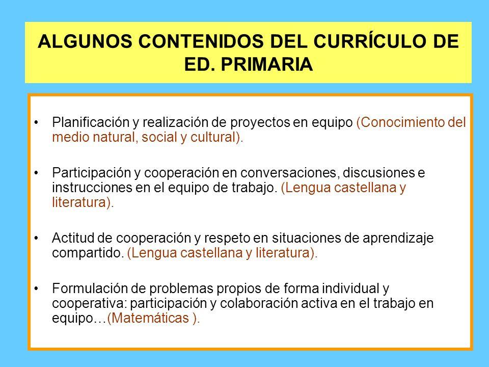 ALGUNOS CONTENIDOS DEL CURRÍCULO DE ED. PRIMARIA Planificación y realización de proyectos en equipo (Conocimiento del medio natural, social y cultural