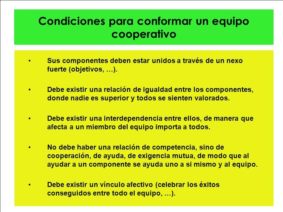 Condiciones para conformar un equipo cooperativo Sus componentes deben estar unidos a través de un nexo fuerte (objetivos, …). Debe existir una relaci