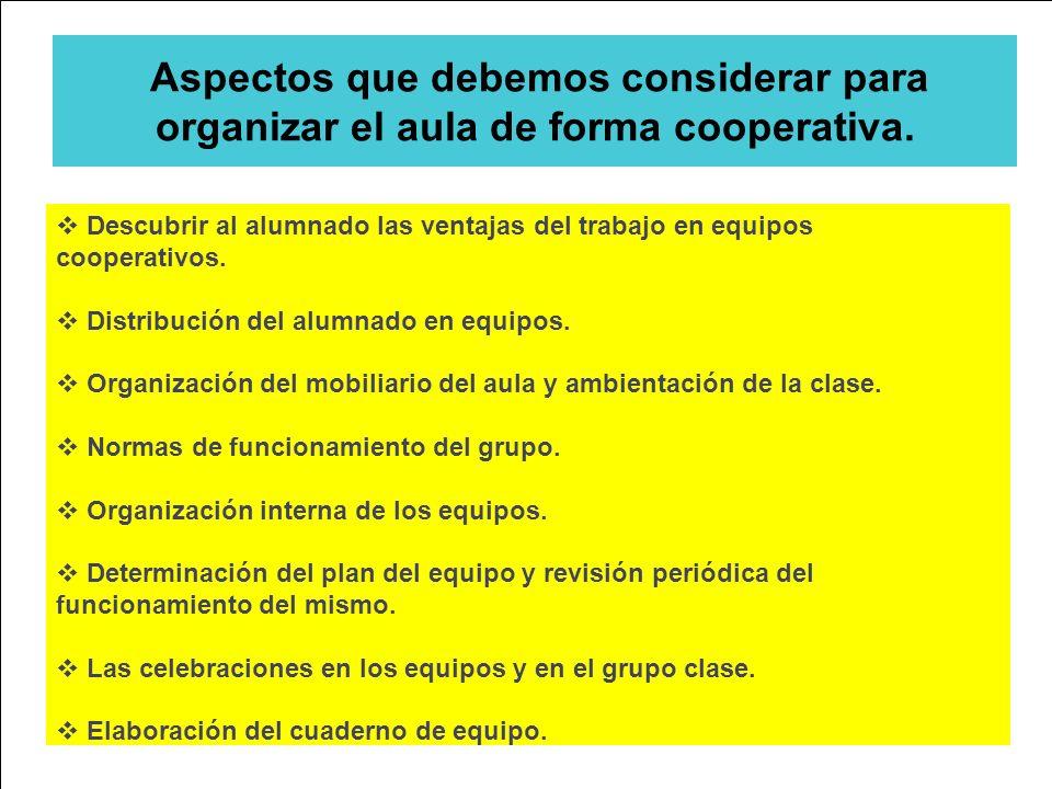 Aspectos que debemos considerar para organizar el aula de forma cooperativa. Descubrir al alumnado las ventajas del trabajo en equipos cooperativos. D