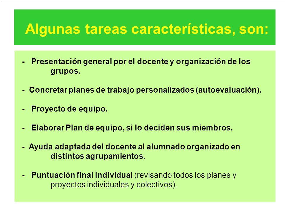 Algunas tareas características, son: - Presentación general por el docente y organización de los grupos. - Concretar planes de trabajo personalizados