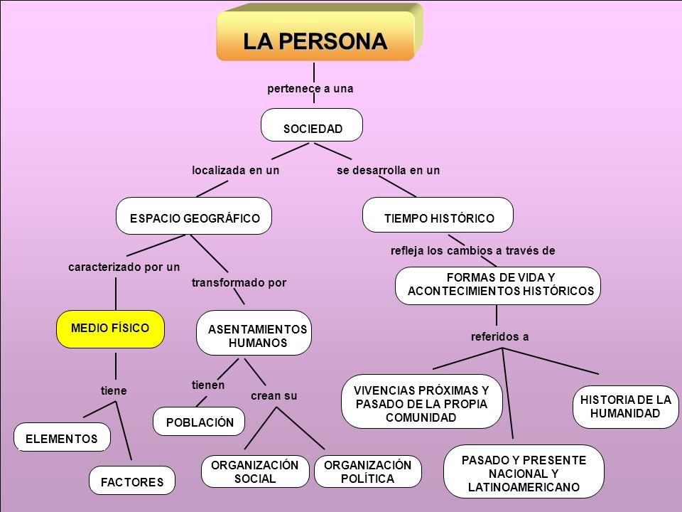 LA PERSONA FACTORES ELEMENTOS tiene referidos a SOCIEDAD pertenece a una MEDIO FÍSICO caracterizado por un ASENTAMIENTOS HUMANOS transformado por ORGA