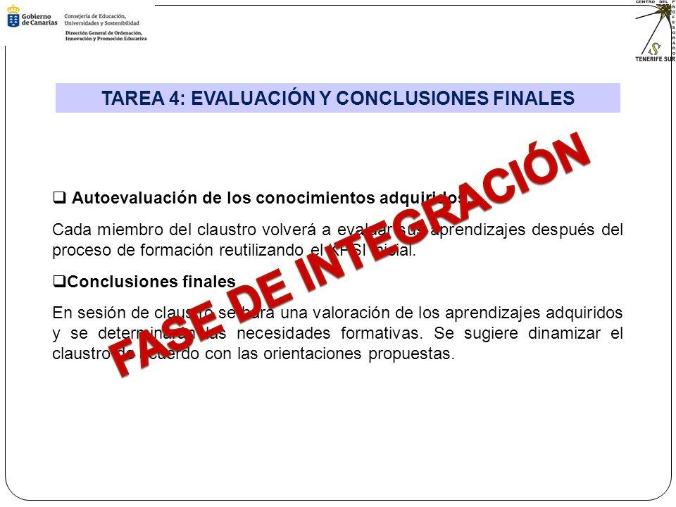 TAREA 4: EVALUACIÓN Y CONCLUSIONES FINALES Autoevaluación de los conocimientos adquiridos.