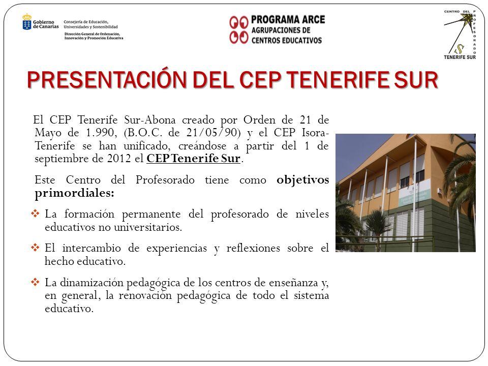 PRESENTACIÓN DEL CEP TENERIFE SUR El CEP Tenerife Sur-Abona creado por Orden de 21 de Mayo de 1.990, (B.O.C.