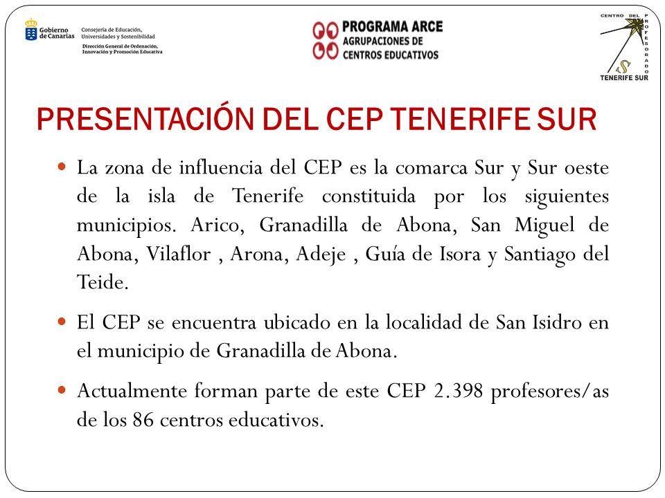 PRESENTACIÓN DEL CEP TENERIFE SUR La zona de influencia del CEP es la comarca Sur y Sur oeste de la isla de Tenerife constituida por los siguientes municipios.