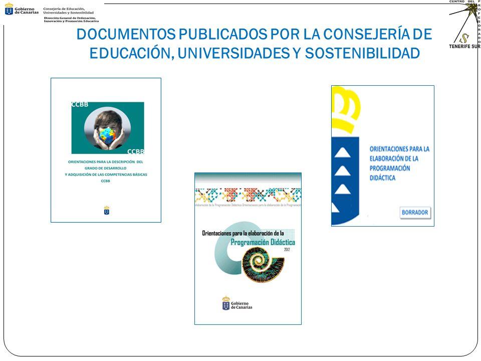 DOCUMENTOS PUBLICADOS POR LA CONSEJERÍA DE EDUCACIÓN, UNIVERSIDADES Y SOSTENIBILIDAD
