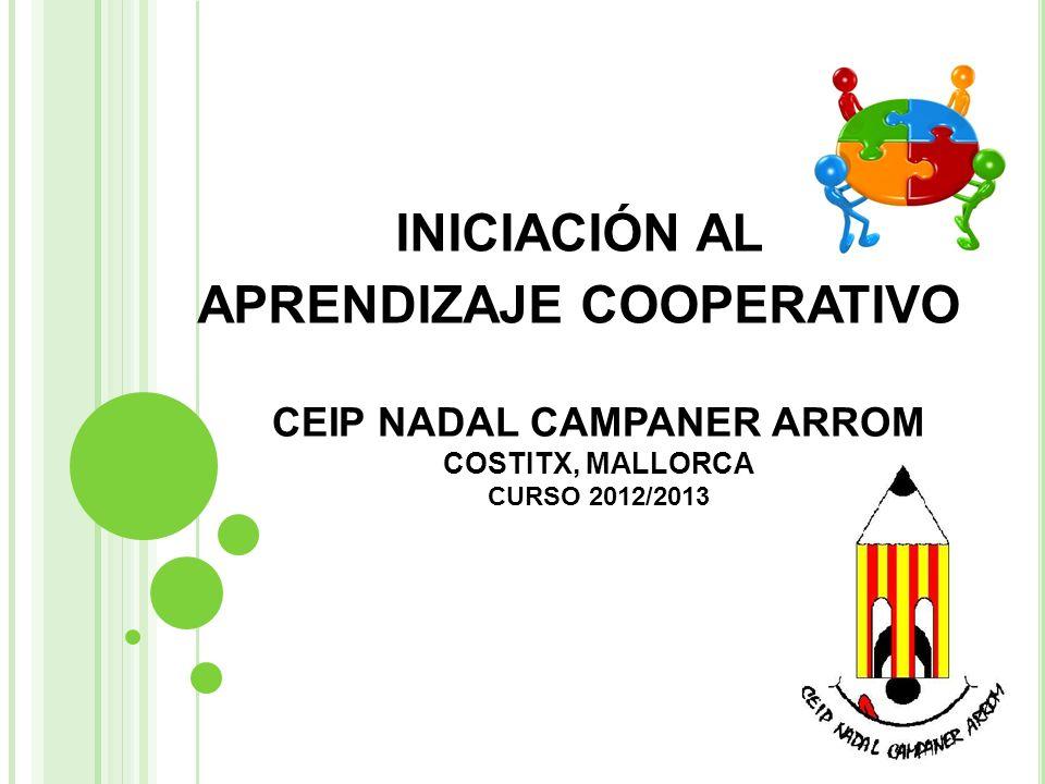 CEIP NADAL CAMPANER ARROM COSTITX, MALLORCA CURSO 2012/2013 INICIACIÓN AL APRENDIZAJE COOPERATIVO