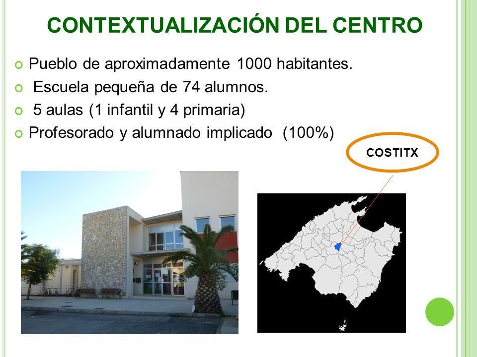 Pueblo de aproximadamente 1000 habitantes. Escuela pequeña de 74 alumnos. 5 aulas (1 infantil y 4 primaria) Profesorado y alumnado implicado (100%) CO