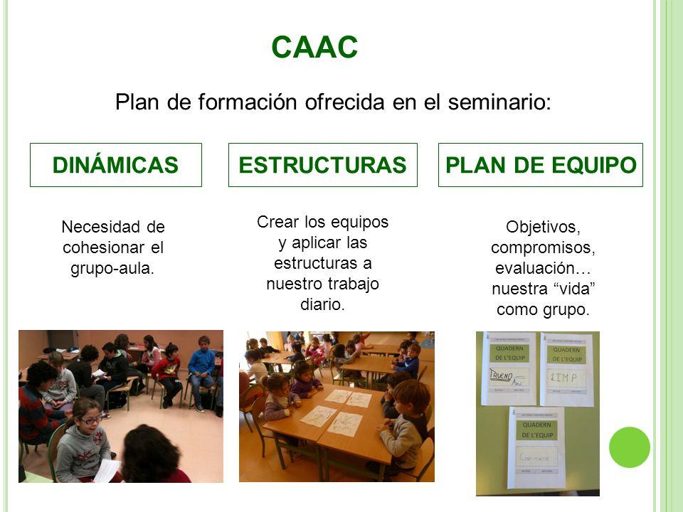 CAAC Plan de formación ofrecida en el seminario: DINÁMICASESTRUCTURASPLAN DE EQUIPO Necesidad de cohesionar el grupo-aula. Crear los equipos y aplicar