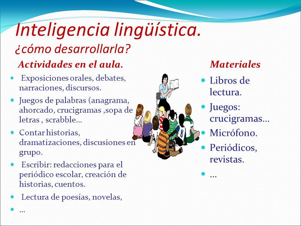 Inteligencia lingüística. ¿cómo desarrollarla? Actividades en el aula. Exposiciones orales, debates, narraciones, discursos. Juegos de palabras (anagr
