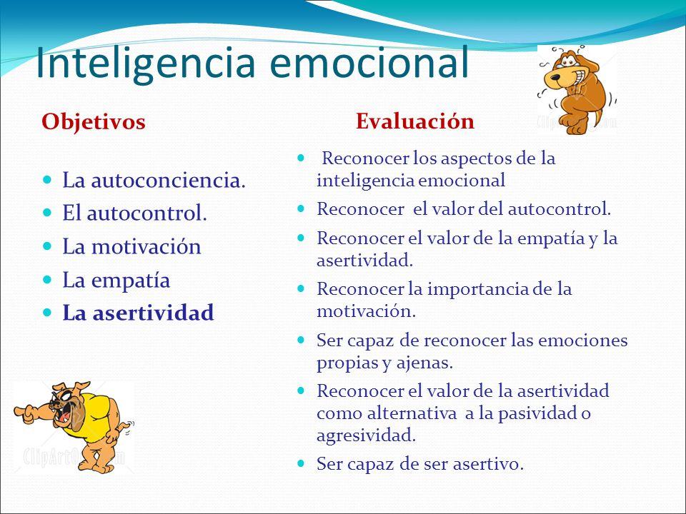 Inteligencia emocional Objetivos La autoconciencia. El autocontrol. La motivación La empatía La asertividad Evaluación Reconocer los aspectos de la in