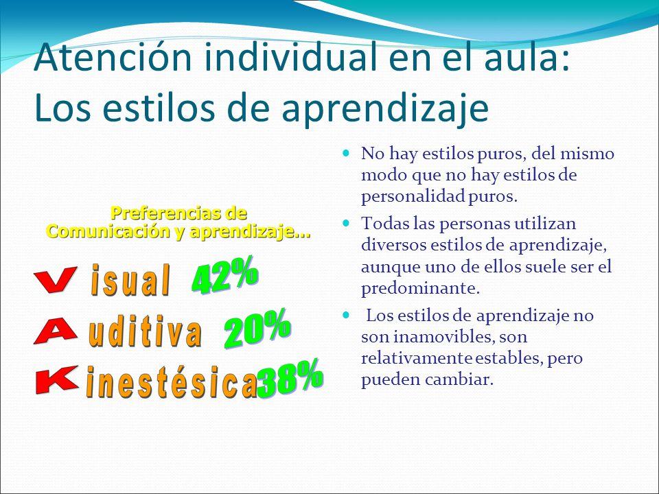 Atención individual en el aula: Los estilos de aprendizaje No hay estilos puros, del mismo modo que no hay estilos de personalidad puros. Todas las pe