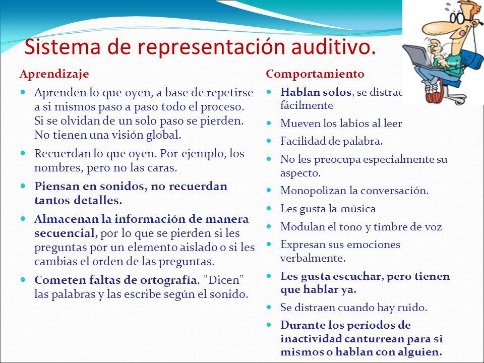 Sistema de representación auditivo. Aprendizaje Aprenden lo que oyen, a base de repetirse a si mismos paso a paso todo el proceso. Si se olvidan de un
