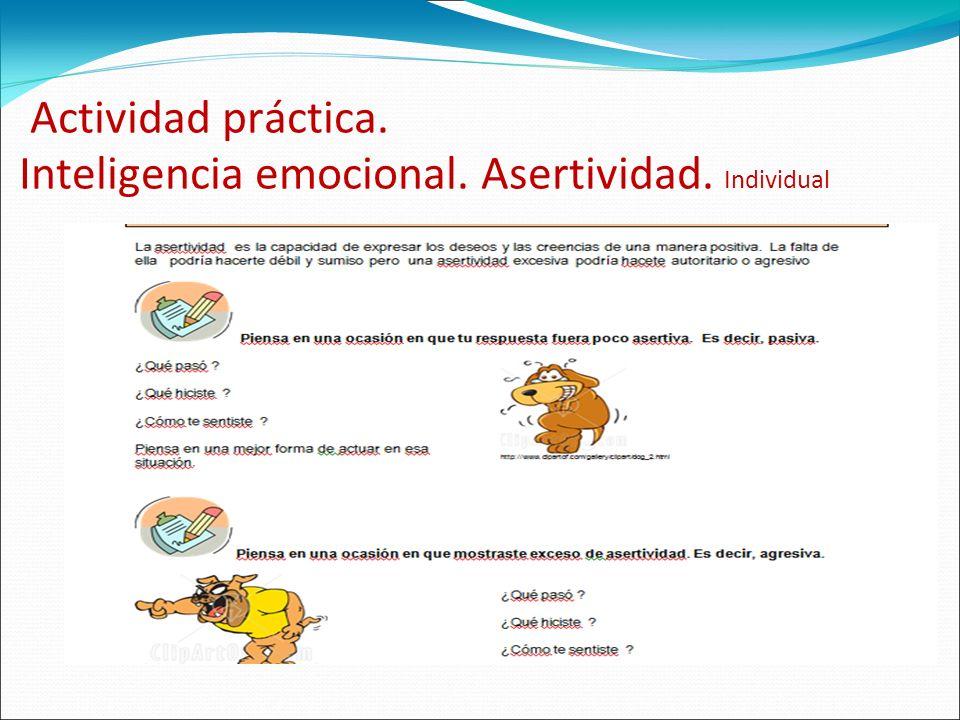 Actividad práctica. Inteligencia emocional. Asertividad. Individual