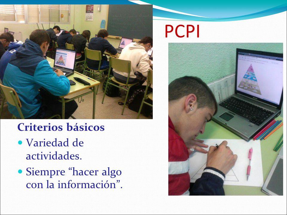 PCPI Criterios básicos Variedad de actividades. Siempre hacer algo con la información.