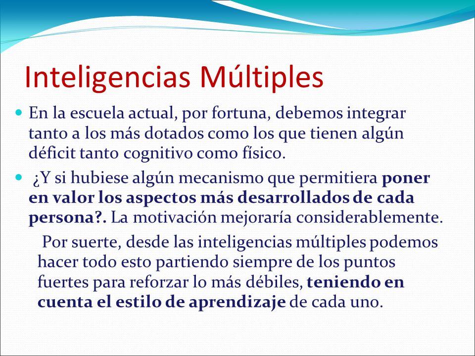 Inteligencias múltiples: Principios básicos.Cada persona posee las 8 inteligencias.