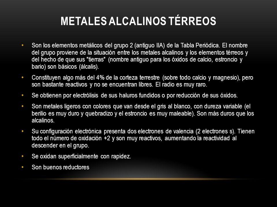 METALES ALCALINOS TÉRREOS Son los elementos metálicos del grupo 2 (antiguo IIA) de la Tabla Periódica. El nombre del grupo proviene de la situación en