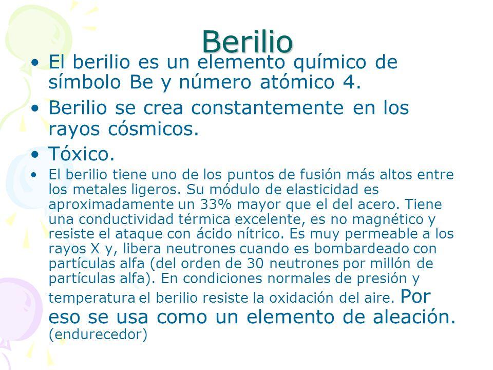 Berilio El berilio es un elemento químico de símbolo Be y número atómico 4. Berilio se crea constantemente en los rayos cósmicos. Tóxico. El berilio t